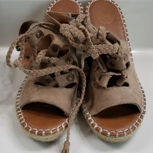 Tan lace up Wedges..size 7.5